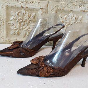 Moda Spana Bow Sling Back Kitten Heels Size 6.5 M